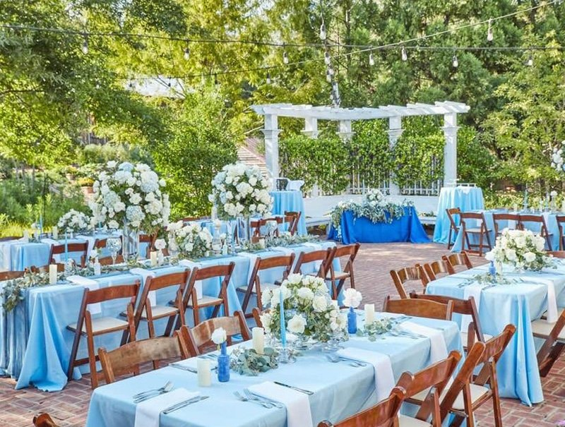 blue table settings in garden